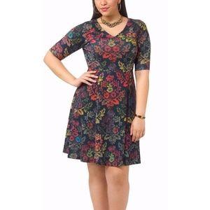 Triste Floral Demask Fit & Flare Dress